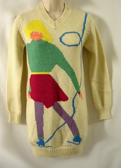 Vintage 80s Figure Skater Ugly Sweater Dress on eBay (click to buy)