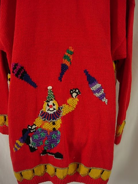 scary clown circus sweater