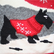 dog wearing a sweater on an ugly christmas sweater