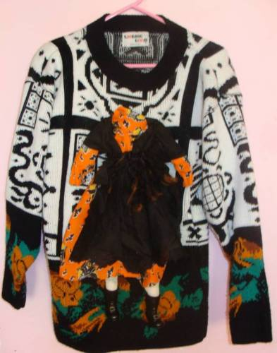 UGLY HALLOWEEN WOMENS MENS SWEATER HEADLESS WITCH M