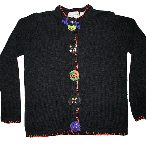 Tacky Witch Spider Bat Cat Halloween Holiday Ugly Sweater/Cardigan Women's Size S