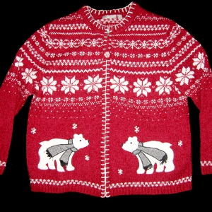 Wooly Polar Bear Tacky Ugly Christmas Holiday Sweater/Cardigan Women's Size XL