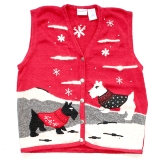 New in the store: Scottie Dog/Westie Tacky Ugly Christmas Holiday Sweater/Vest Women's Size XL