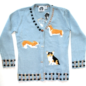 """Everyday Corgi"" Storybook Knits Tacky Ugly Dog Sweater/Cardigan Women's Size XS Brand New!"