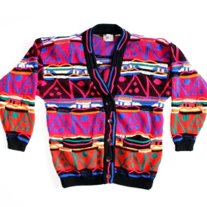 Bright Vintage 80s Cosby Sweater for Girls! Tacky Ugly Sweater/Cardigan Women's Size Large (L)