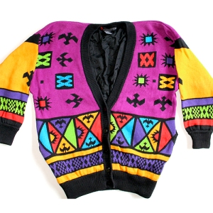 Bright Vintage 90s Cosby Sweater for Girls! Tacky Ugly Sweater/Cardigan Women's Size XL