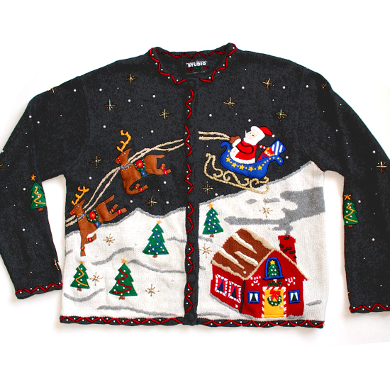 Santa's Sleigh with Reindeer Tacky Ugly Christmas Holiday Sweater / Cardigan Women's Size Large (L)