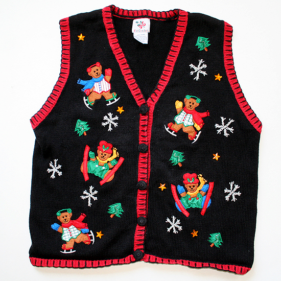 Skiing Skating Teddy Bears Tacky Ugly Christmas Holiday Sweater / Vest Women's Size Large (L)