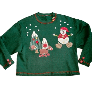 Craptastic DIY Homemade Tacky Ugly Christmas Holiday Sweater/Sweatshirt Women's Size Medium (M)