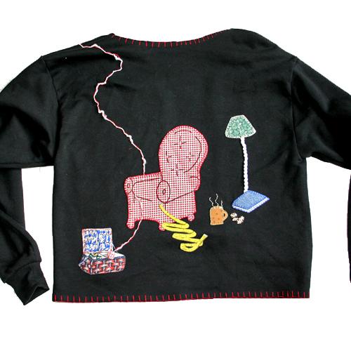 """Schnauzer's Dilemma"" DIY Homemade Tacky Ugly Sweater/Sweatshirt Women's Size Large (L)"
