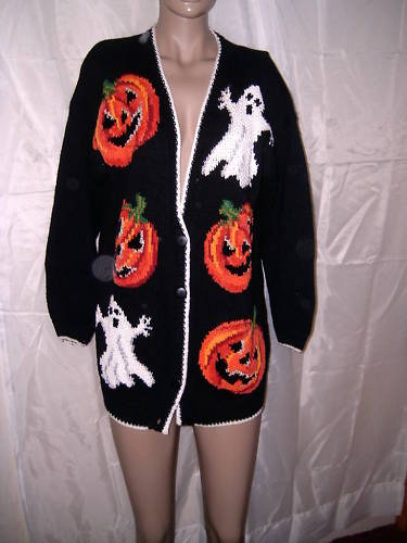 MARISA CHRISTINA CLASSIC HAND KNIT HALLOWEEN SWEATER L
