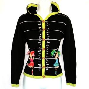 Jack B Quick 3D Cheerleader Pom Pon Football Sweater/Cardigan/Hoodie Women's Size PP (XS)