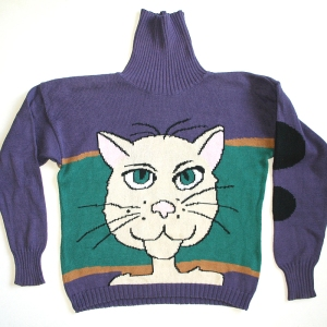 Giant Creepy Cat Head Tacky Ugly Sweater for Cat Lady Women's Size Small (S)