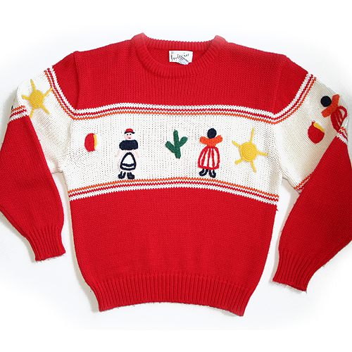Vintage 80s Native American Doll Tacky Ugly Sweater Women's Size Large (L)