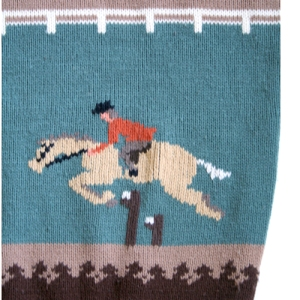 Vintage 80s Horse Racing/Equestrian Tacky Ugly Sweater Men's Size Medium (M)