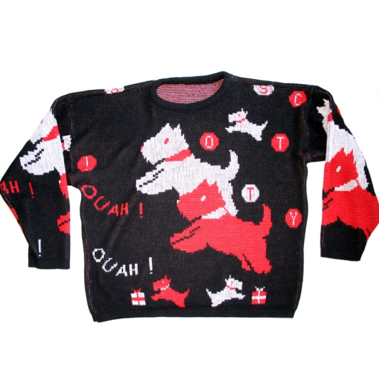 """Ouah Ouah"" Scottie Dogs Barking in French Tacky Ugly Sweater (Vintage 80s) Women's Size Large (L)"
