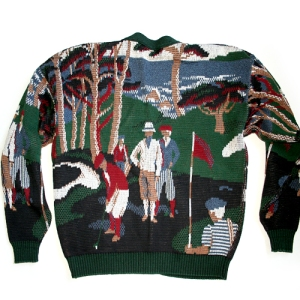 """Bagger Vance Was Here"" Tacky Ugly Golf Sweater/Cardigan Men's Size XL"
