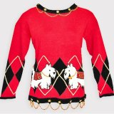 Westie/White Scottie Dog Red Tacky Argyle Ugly Sweater w/Blingy Gold Chain Women's Size M orL