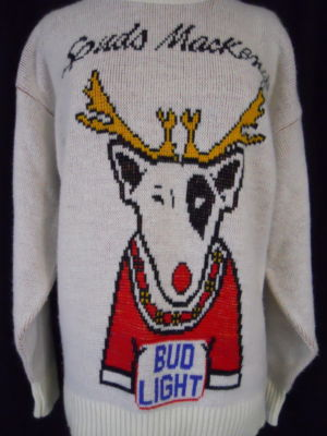 we like vintage 80s spuds mackenzie budweiser beer ugly christmas sweater on ebay