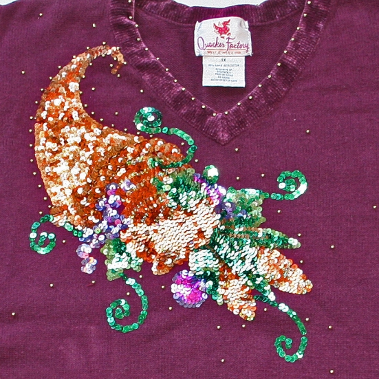 sparkly cornucopia of bling ugly Thankgskiving sweater