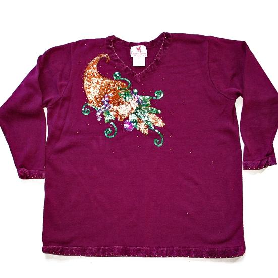 Quacker Factory Purple Cornucopia of Bling Thanksgiving Tacky Ugly Gem Sweater Women's Plus Size 1X