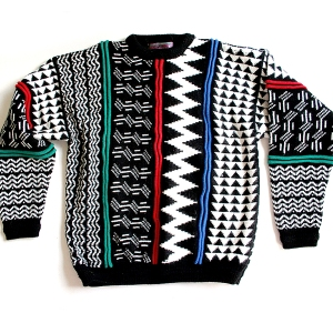 Textured Black/White Vintage 80s Ugly Cosby Sweater Mens' Size Medium (M)