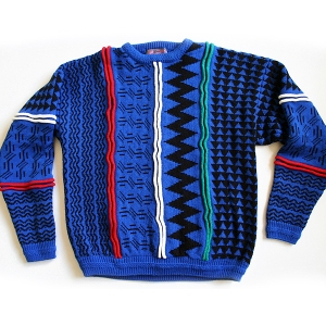 Textured Bright Blue Vintage 80s Ugly Cosby Sweater Mens' Size XL