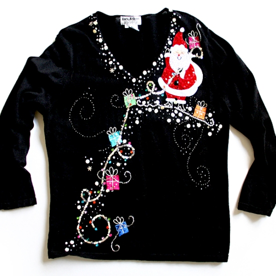 Santa Brings the Bling Tacky Ugly Christmas Sweater Women's Plus Size 2X