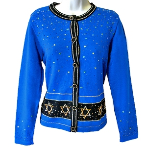 Blingy Tacky Ugly Hanukkah Sweater/Cardigan Women's Size Small (S)