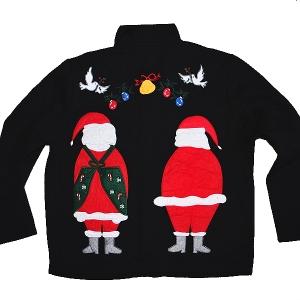 Coming & Going Santa & Mrs Claus Tacky Ugly Christmas Sweater/Sweatshirt Women's Size Medium (M)