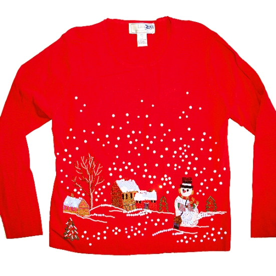 Super Blingy Bedazzled Winter Scene Tacky Ugly Christmas Sweater/Shirt Women's Size Large (L)