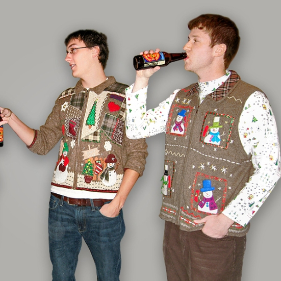 Coordinating brown ugly Christmas sweaters from TheUglySweaterShop.com