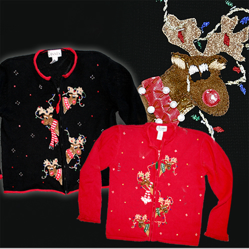 Peek-a-boo Rudolph Reindeer Tacky Ugly Christmas Holiday Sweater/Cardigan