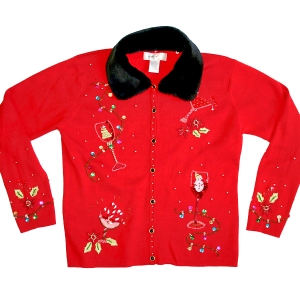 "Blingy ""Girlie Drinks for Christmas"" Tacky Ugly Sweater w/Fur Collar Women's Size Medium (M)"