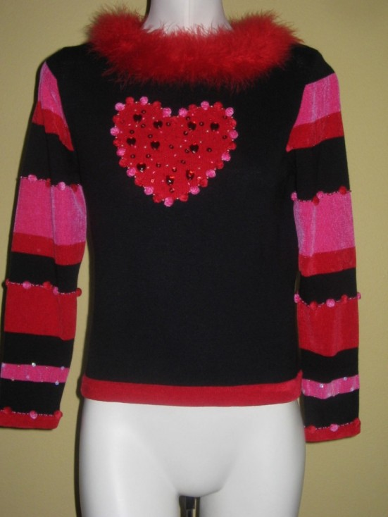 Jack B Quick Furry Beaded Heart Cupid Sweater PP Petite