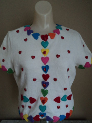 MICHAEL SIMON Valentine Heart Sweater S P NEW