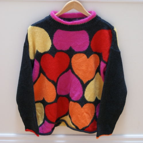 MONDI Wool Mohair Heart Sweater (Sz 38) Valentine's Day