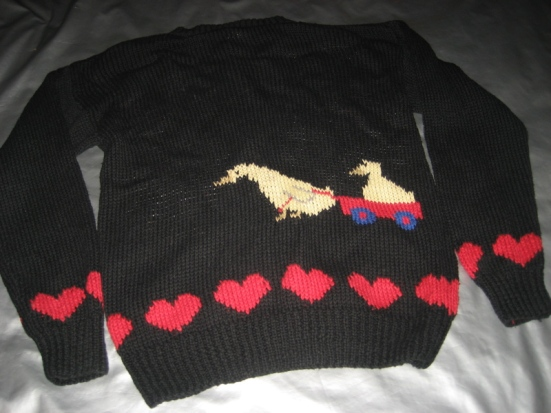 ORVIS CARDIGAN SWEATER Black w_ Geese Hearts Size SMALL (Back)