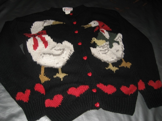 ORVIS CARDIGAN SWEATER Black w_ Geese Hearts Size SMALL (Front)