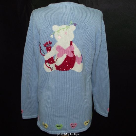 QUACKER FACTORY Valentine Cupid Bear Tunic Sweater S (Back)