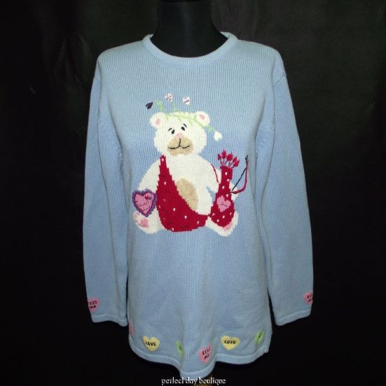 QUACKER FACTORY Valentine Cupid Bear Tunic Sweater S (Front)