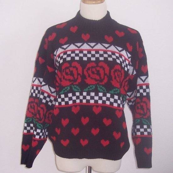 Valentine Black Red Rose Heart Sweater Pullover M 40B