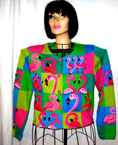 Valentine Michael Simon Pink Flamingo Love Sweater S
