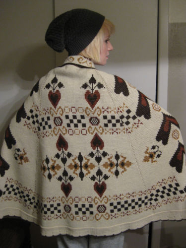Vintage '70's Nordic Hearts Hippie Sweater Ponco Cape