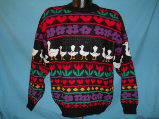 vintage HEARTS FLOWERS DUCKS ACRYLIC UGLY SWEATER LRG L