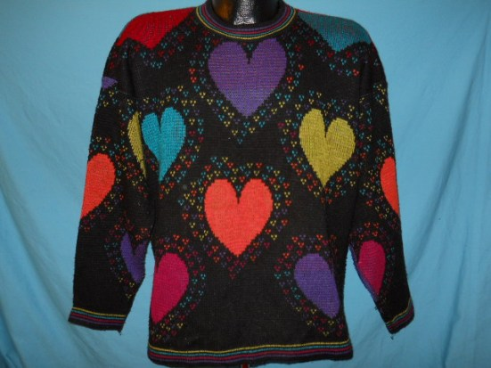 vintage HEARTS NEON PRINT ALL OVER UGLY SWEATER LRG L