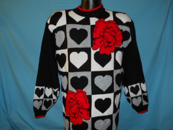 vintage VALENTINE'S DAY HEARTS BLACK UGLY SWEATER MED M