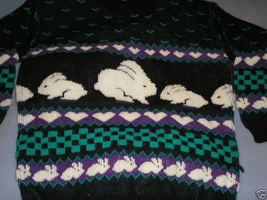 Vtg 80s Checkerboard Bunnies Hearts Novelty Sweater LXL
