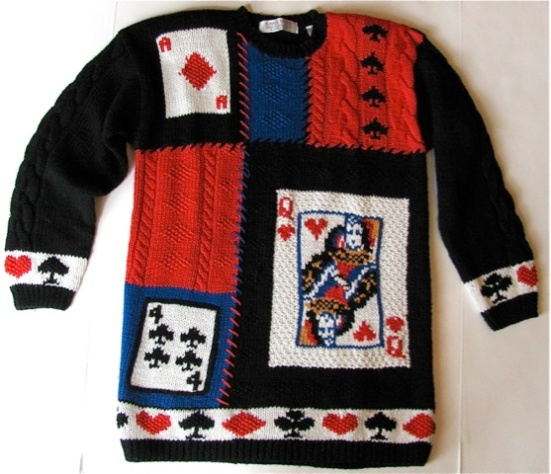 Vtg Hand Knit Queen of Heart Deck of Cards Sweater M