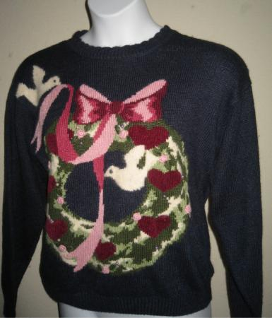 VTG Jantzen Sweater Hand Embroidered Doves Hearts L 12